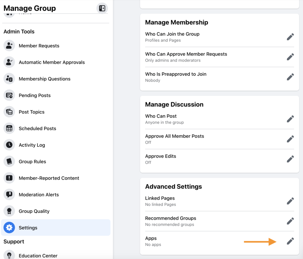 Facebook Group apps settings